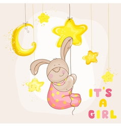 Baby bunny with stars and moon - shower vector