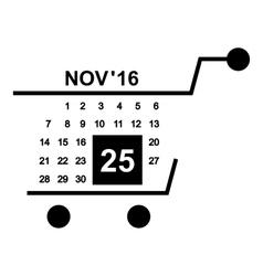 Basket calendar twenty fifth of november icon vector