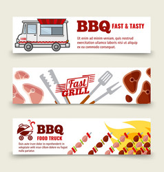 bbq and steak horizontal banners template meat vector image