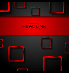 Black tech background and red metallic squares vector