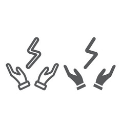 bolt in hands line and glyph icon electric and vector image