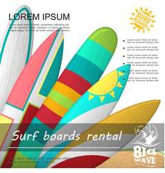bright surfboards rent advertising poster vector image