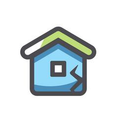 broken house home destruction icon cartoon vector image