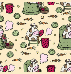Bull cookes soup and knits seamless pattern vector
