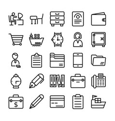 business and office line icons 8 vector image