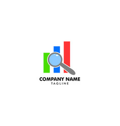 business search stats logo design template vector image