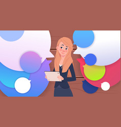 businesswoman holding tablet speak over colorful vector image
