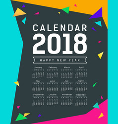 Calendar new year 2018 colorful triangle vector