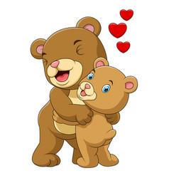 cartoon mother and babrown bear vector image