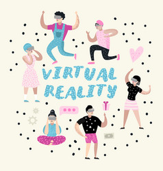 cartoons wearing virtual reality glasses vr vector image
