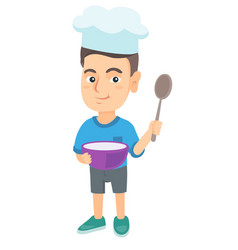 Caucasian holding a saucepan and a spoon vector