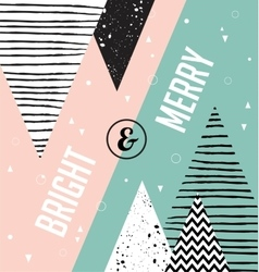 Christmas card Abstract geometric scandinavian vector