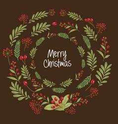 Christmas design composition of poinsettia vector