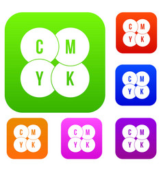cmyk circles set collection vector image