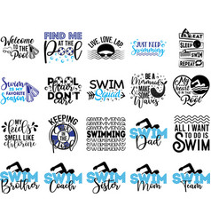 Collection swimming phrases slogans or quotes vector