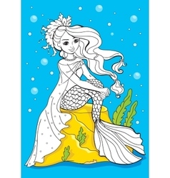 Coloring Book Of Beauty Mermaid Sitting On Stone vector
