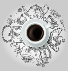 Cup of black tea with tea items creative vector