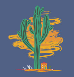 Cute cartoon with high saguaro cactus and liitle vector