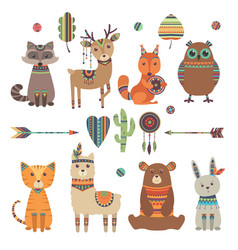 cute ethnic animals tribal kid wild zoo bear owl vector image