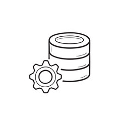database with cog hand drawn outline doodle icon vector image