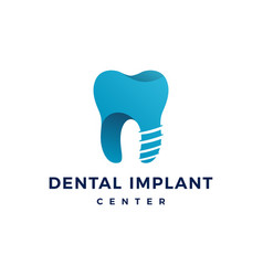 Dental implant logo teeth tooth icon vector