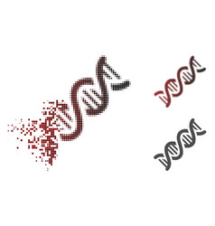 Disappearing dot halftone dna spiral icon vector