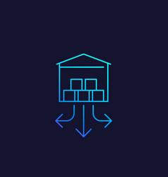 Distribution center warehouse line icon vector
