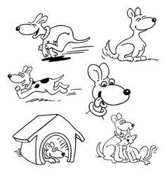 dog set cartoons outlined cartoon drawing vector image