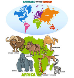 Educational funny african animals vector
