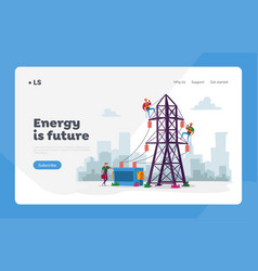 Energy station powerline in city landing page vector