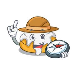 Explorer cinnamon roll mascot cartoon vector