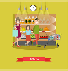 family purchases concept in vector image
