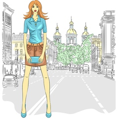 Fashionable attractive girl in St Petersburg vector