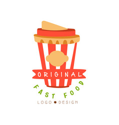 fast food logo original design badge vector image