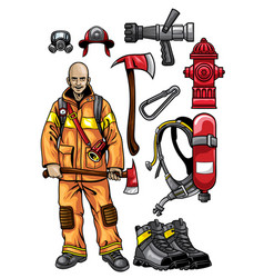Firefighter gear set vector