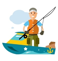 Fishing man Flat style colorful Cartoon vector