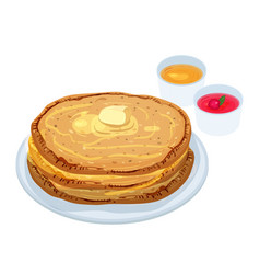 fried pancakes blini or crepes lying on plate vector image