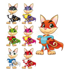 Funny cat super hero vector image