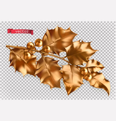 golden holly christmas decoration 3d realistic vector image