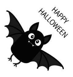 Happy halloween flying bat vampire cute cartoon vector