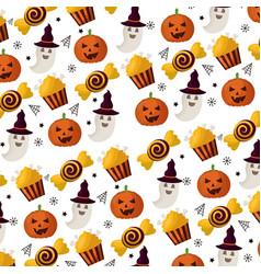 happy halloween icons pattern vector image