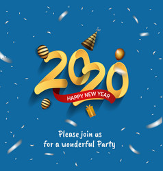 Happy new year 2020 golden number with confetti vector
