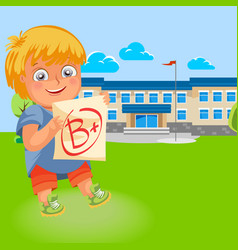 Happy school boy with good grade poster vector