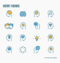 human thinking thin line icons set vector image