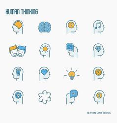 human thinking thin line icons set vector image