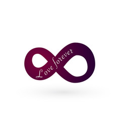 Infinity love symbol love forever text vector