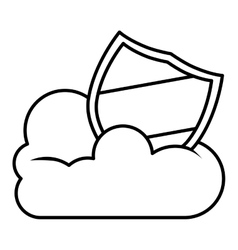 Isolated cloud computing and shield design vector