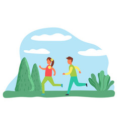 jogging character active lifestyle boy and girl vector image