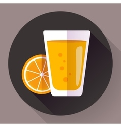 Juice glass Flat designed style icon vector image