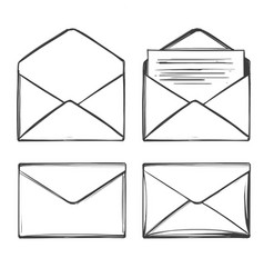 letter envelope set icon collection cartoon hand vector image